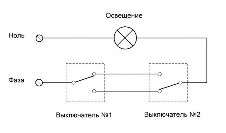 Схема цепи переходного переключателя