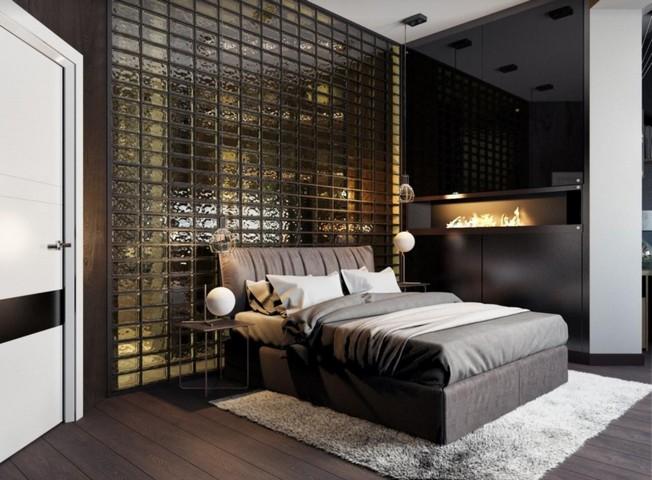 Витражное полупрозрачное стекло в спальне