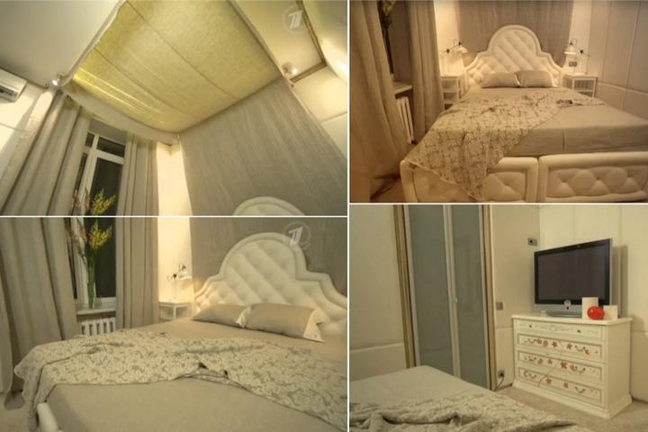 Спальня в серых тонах и кровать с мягким подголовником