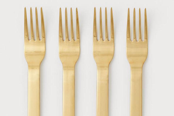 Вилки для горячего золотистого цвета в стиле ар-деко
