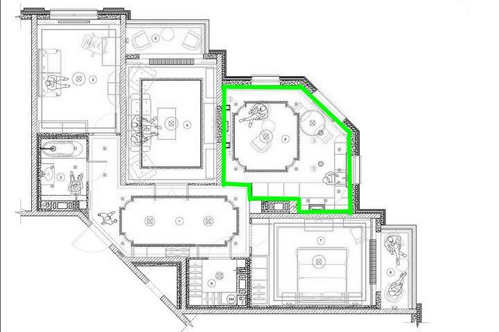 Цветом выделена зона кухни-гостиной