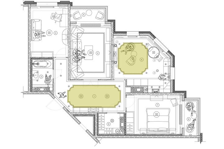 Цветом выделены конфигурации потолков