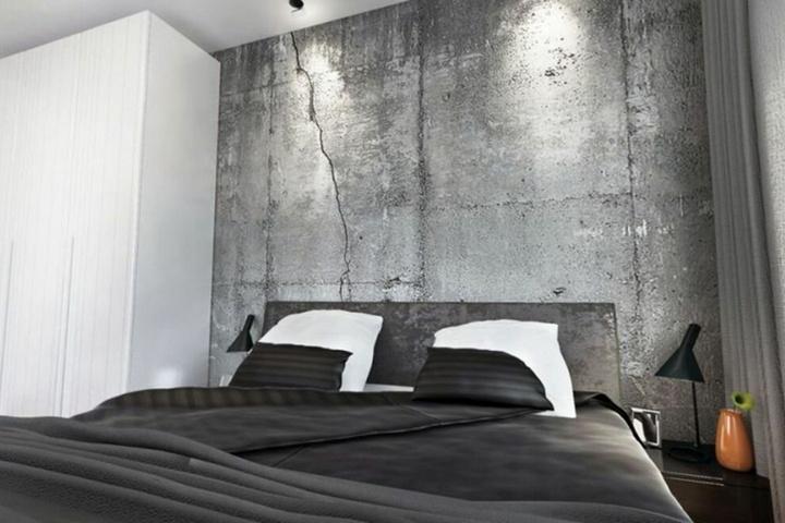 Стена из бетона в спальне