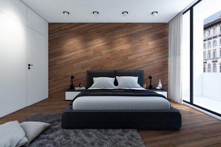Ламинат, выложенный наискосок в спальне