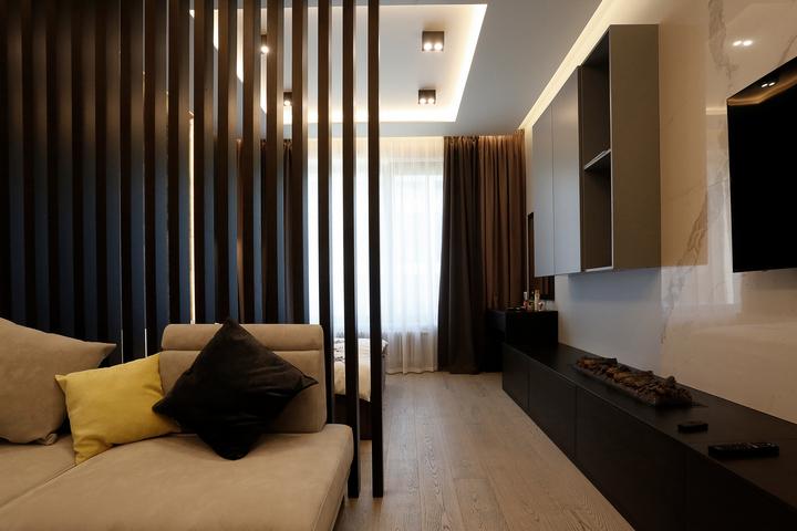 Современное зонирование и мебель в стиле контемпорари