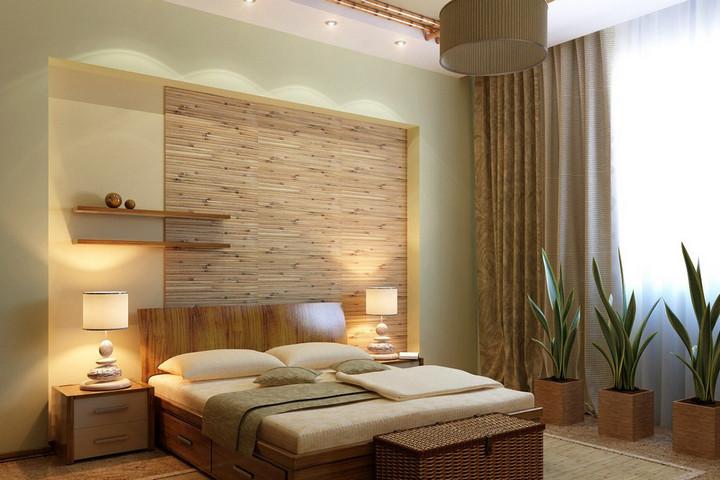Эко-стиль спальни с множеством дерева и растениями