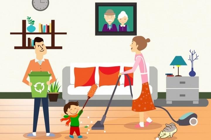 Уборка всей семьей