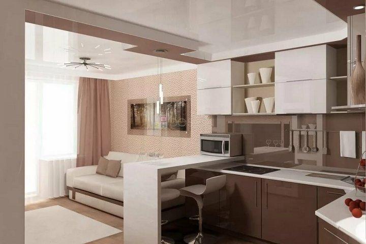 Практичные цвета отделки кухни в студии