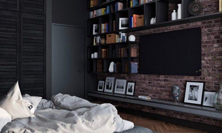 Полки для декора и книг над ТВ