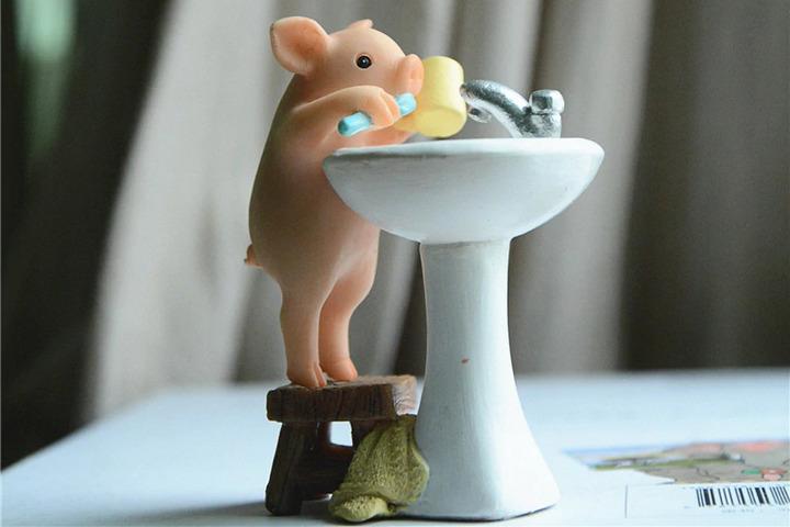 Фигурка свинки с раковиной