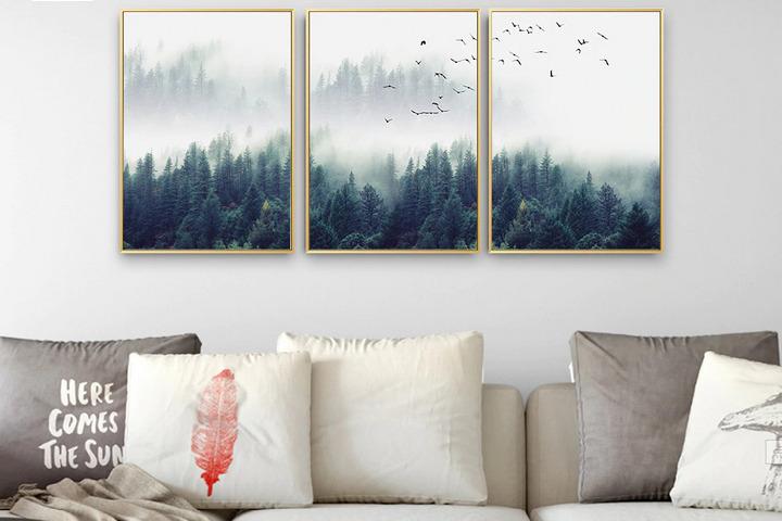 Триптих с изображением туманного леса