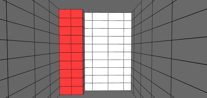 Узкая стена короба с раскладкой двух подрезков больше ширины целой плитки