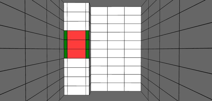Раскладка плитки на ревизионном люке: красным выделены целые плитки; зеленым — узкие подрезки