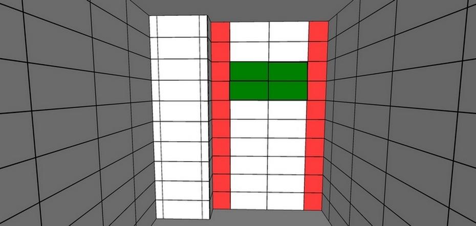 Зеленым цветом показаны целые плитки; Красным — подрезки