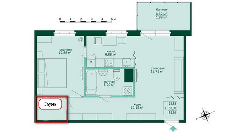 Планировка квартиры с сауной