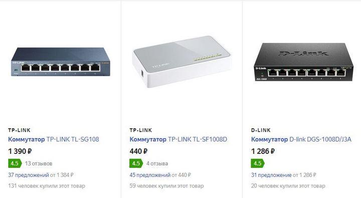 Цены на коммутаторы от 31.10.19 на Яндекс Маркете.