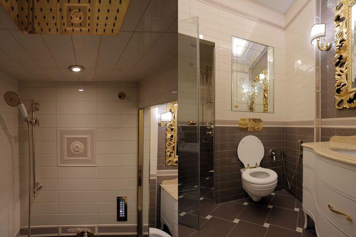 Тропический душ слева; справа — подвесная инсталляция