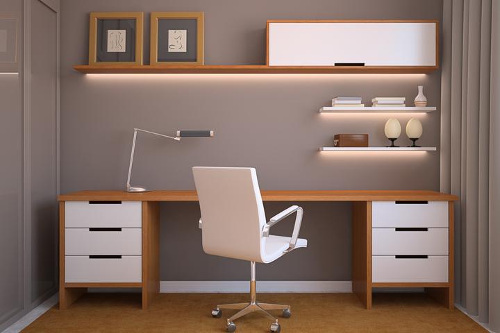 Прямой стол в интерьере