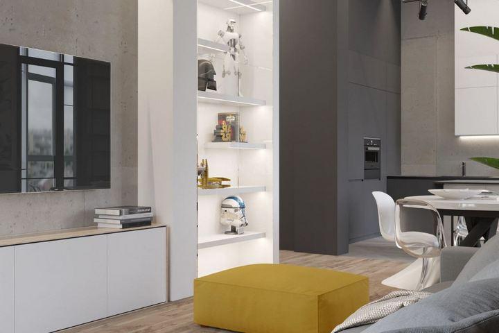 Бетонная стена под ТВ и встраиваемые системы хранения