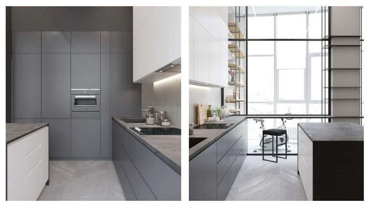 Интерьер кухни с серых тонах со встраиваемой техникой и шкафами