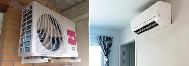 Установленная сплит-система изнутри и снаружи дома