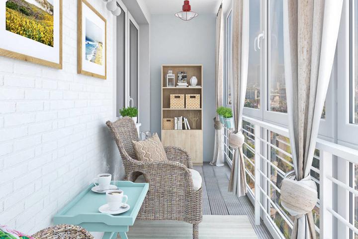 Плетеная мебель и столик пастельного цвета