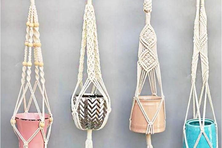 Подвесные держатели из плетеного текстиля