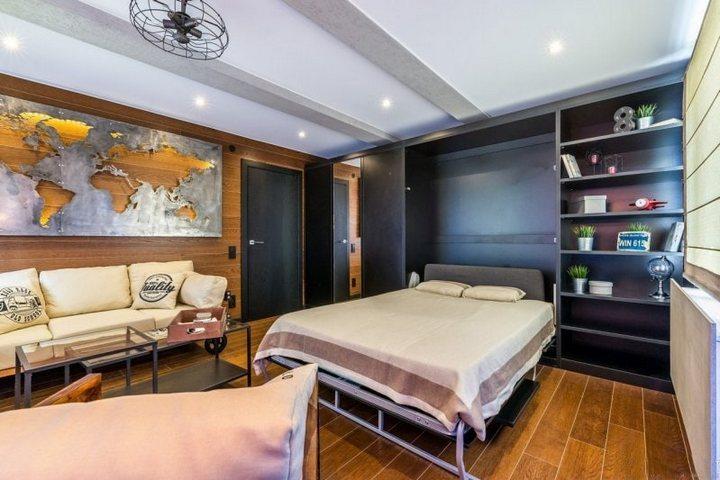Студия с встроенной кроватью в шкаф