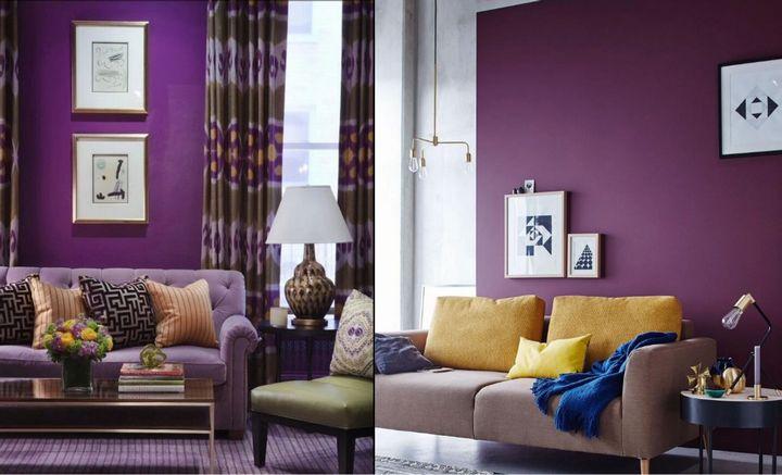 """Цвет """"Виноградный компот"""" в интерьере гостиной"""