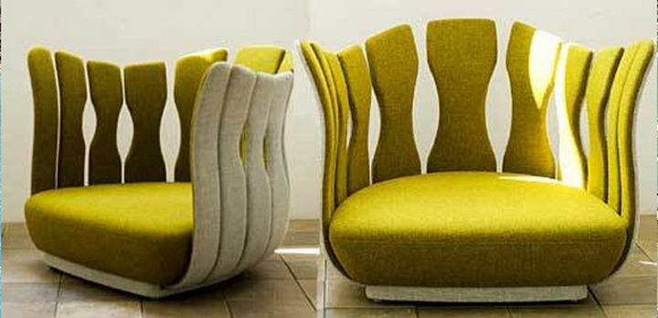 Фактурное желтое кресло