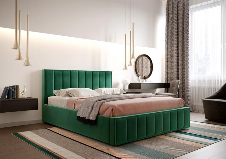 Кровать с мягкой спинкой из изумрудного бархата