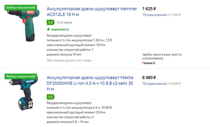 Цены на яндекс маркете на дрели-шуруповерты от 17.02.2020