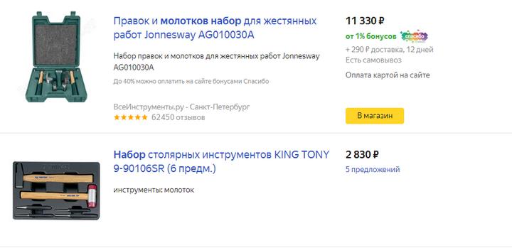 Цены на яндекс маркете на наборы молотков от 17.02.2020