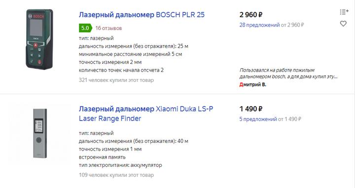 Цены на яндекс маркете на дальнометры от 17.02.2020