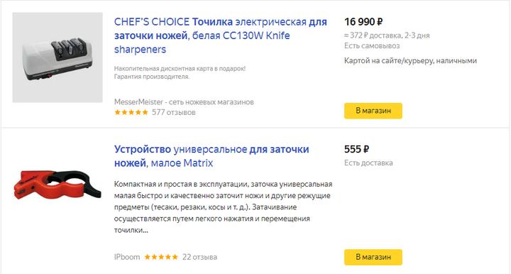 Цены на яндекс маркете на заточки для ножей от 17.02.2020