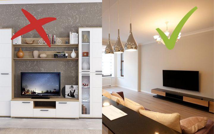 Устаревший вариант стенки под ТВ, слева современное оформление