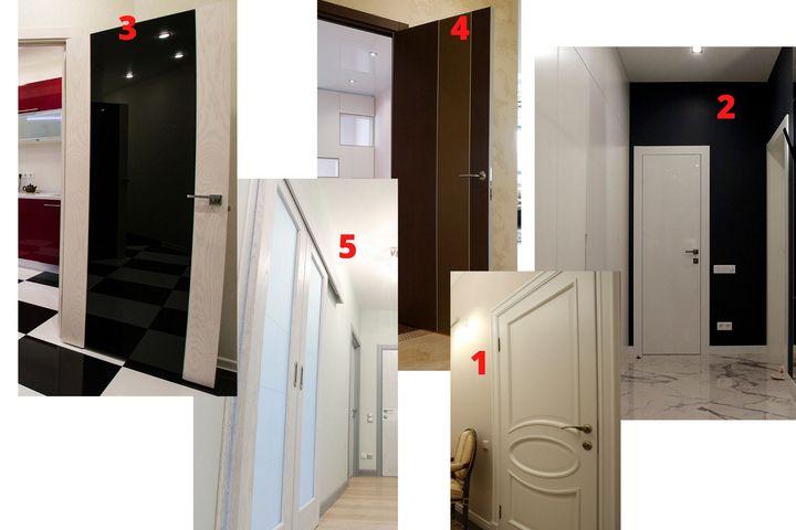 1 - филенчатая дверь; 2 - щитовая дверь; 3 - царговая дверь; 4 - погонажная дверь; 5 - стеклянная дверь