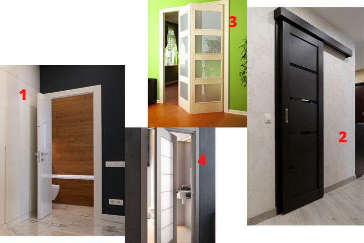 1 - распашная дверь; 2 - раздвижная дверь; 3 - раскладная дверь; 4 - качающаяся дверь