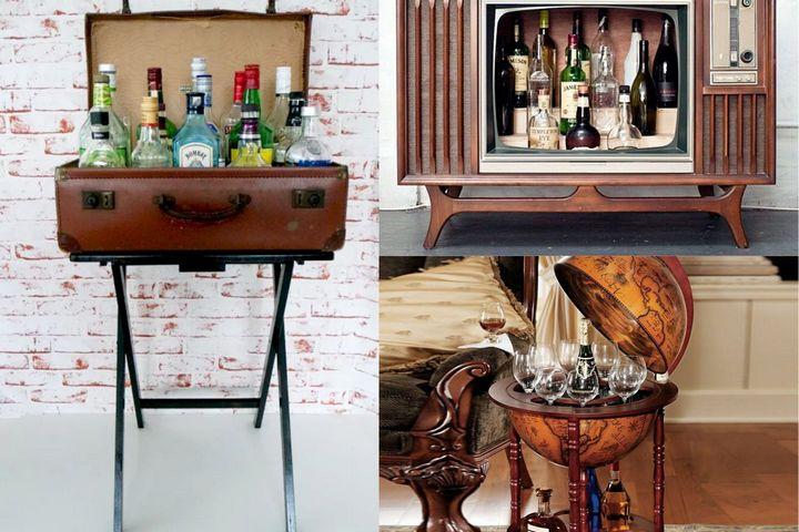 Мини-бары в оригинальном дизайне: в чемодане, в телевизоре, в глобусе
