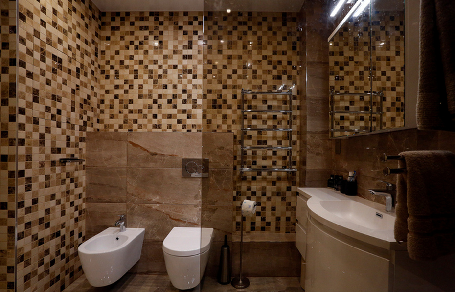 Мозаика в коричнево-бежевой гамме