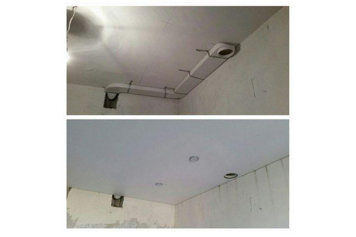 Монтаж вентиляционного канала в подвесной потолок