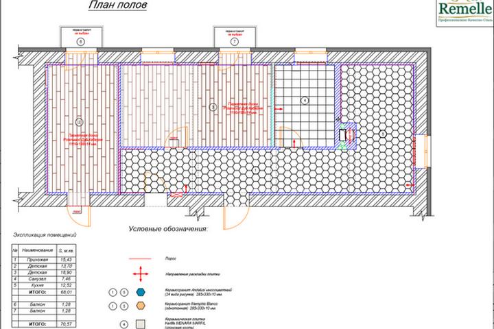 План напольного покрытия по проекту ремонта от Ремэлль