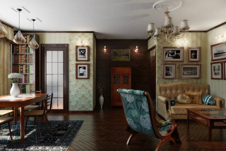 Интерьер с чрезмерным количеством декора и акцентов из старинных вещей