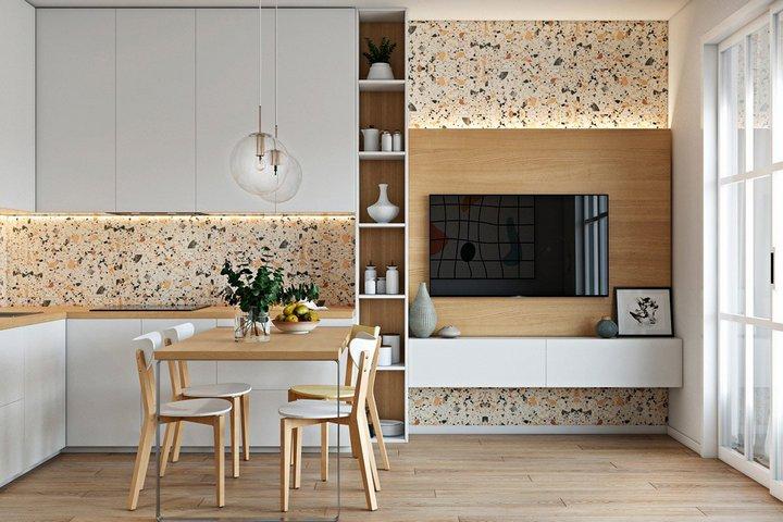 Терраццо с декорировании кухни и зоны с ТВ