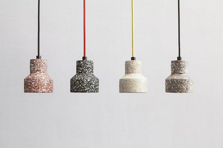 Плафоны светильников из терраццо