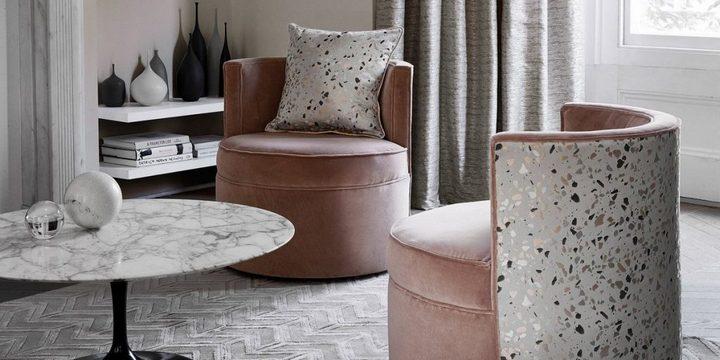 Текстиль и мягкая мебель с рисунком терраццо