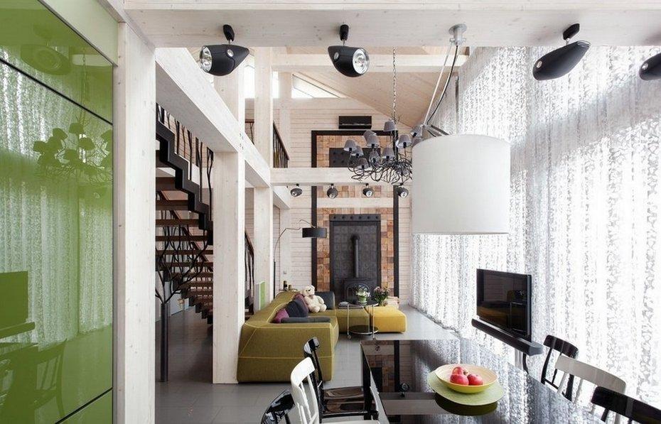 Интерьер совмещенной гостиной-столовой-кухни