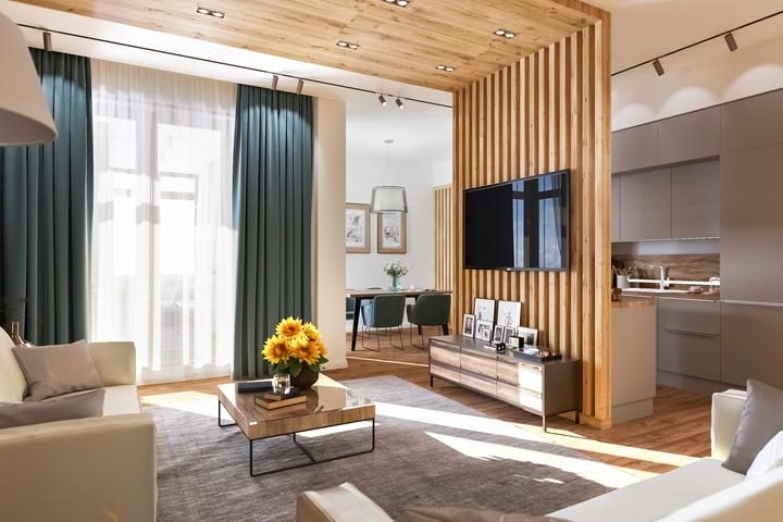 Перегородка из дерева и конфигурация потолка