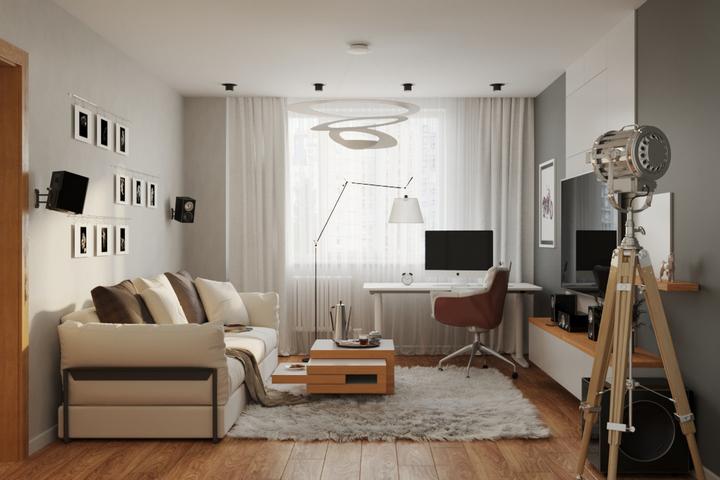 Скандинавский стиль в гостиной и зона для работы