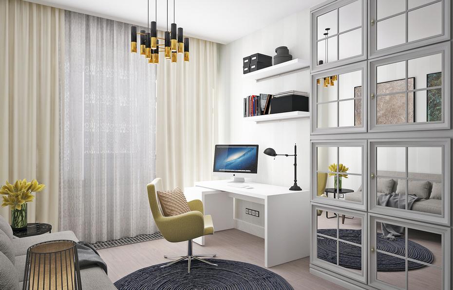 Минималистичный домашний кабинет в спальне
